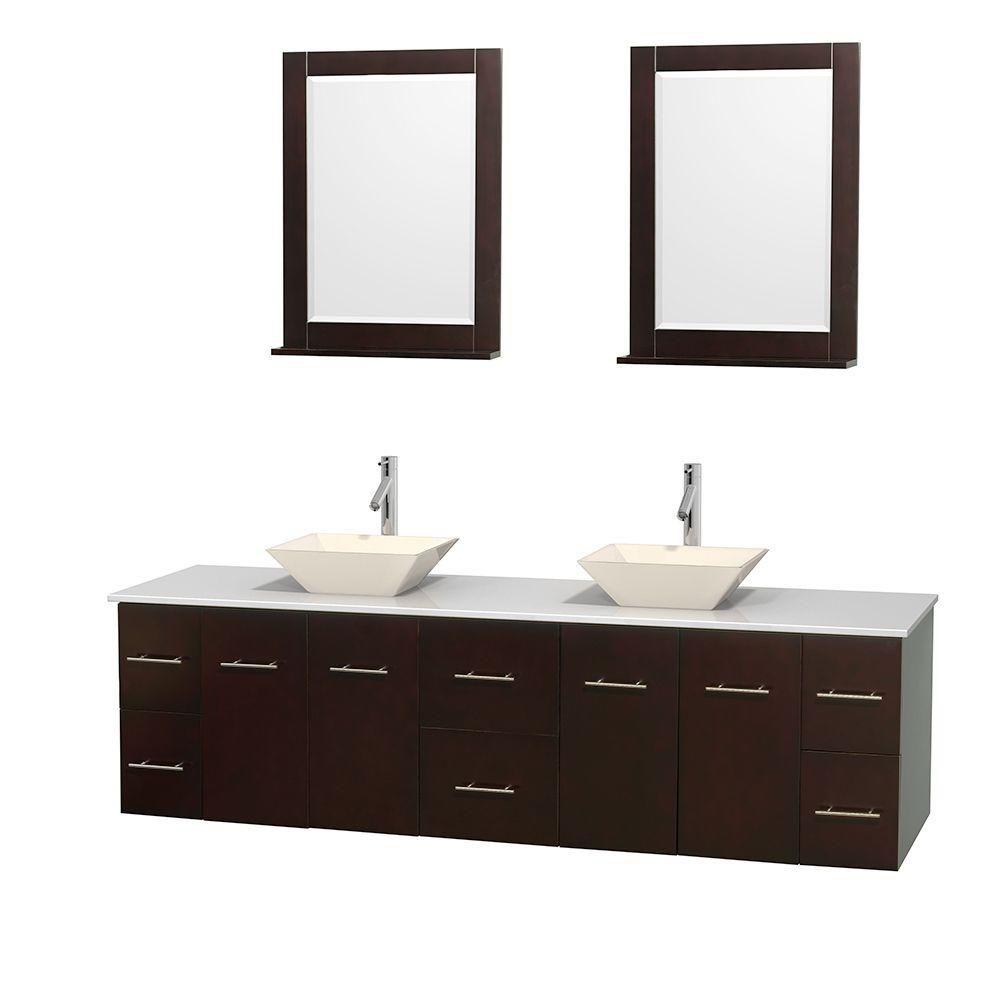 Meuble double Centra 80 po. espresso, comptoir solide, lavabos porcelaine bone, miroirs 24 po.
