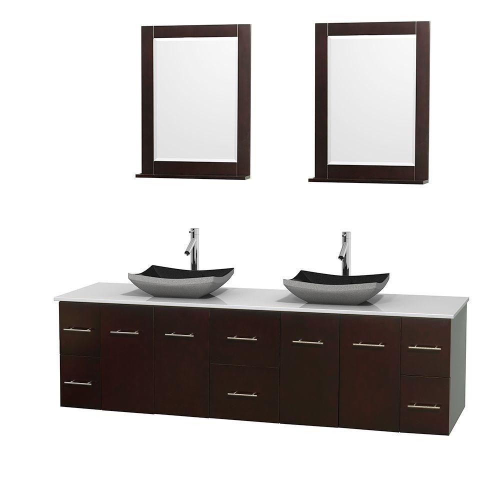 Meuble double Centra 80 po. espresso, comptoir solide, lavabos granit noir, miroirs 24 po.