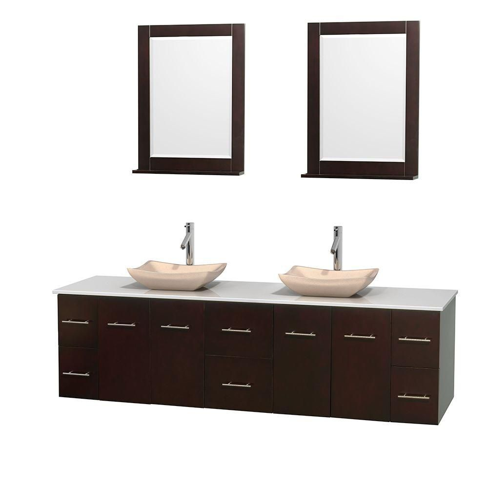 Centra 80-inch W Double Vanity in Espresso with Solid Top with Ivory Basins and Mirrors