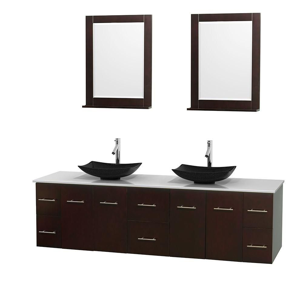 Centra 80-inch W Double Vanity in Espresso with Solid Top with Black Basins and Mirrors