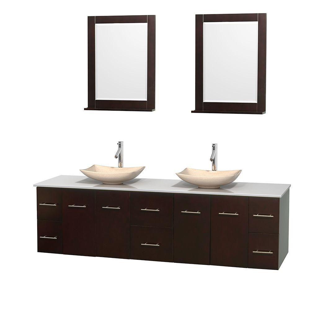 Meuble double Centra 80 po. espresso, comptoir solide, lavabos ivoire, miroirs 24 po.