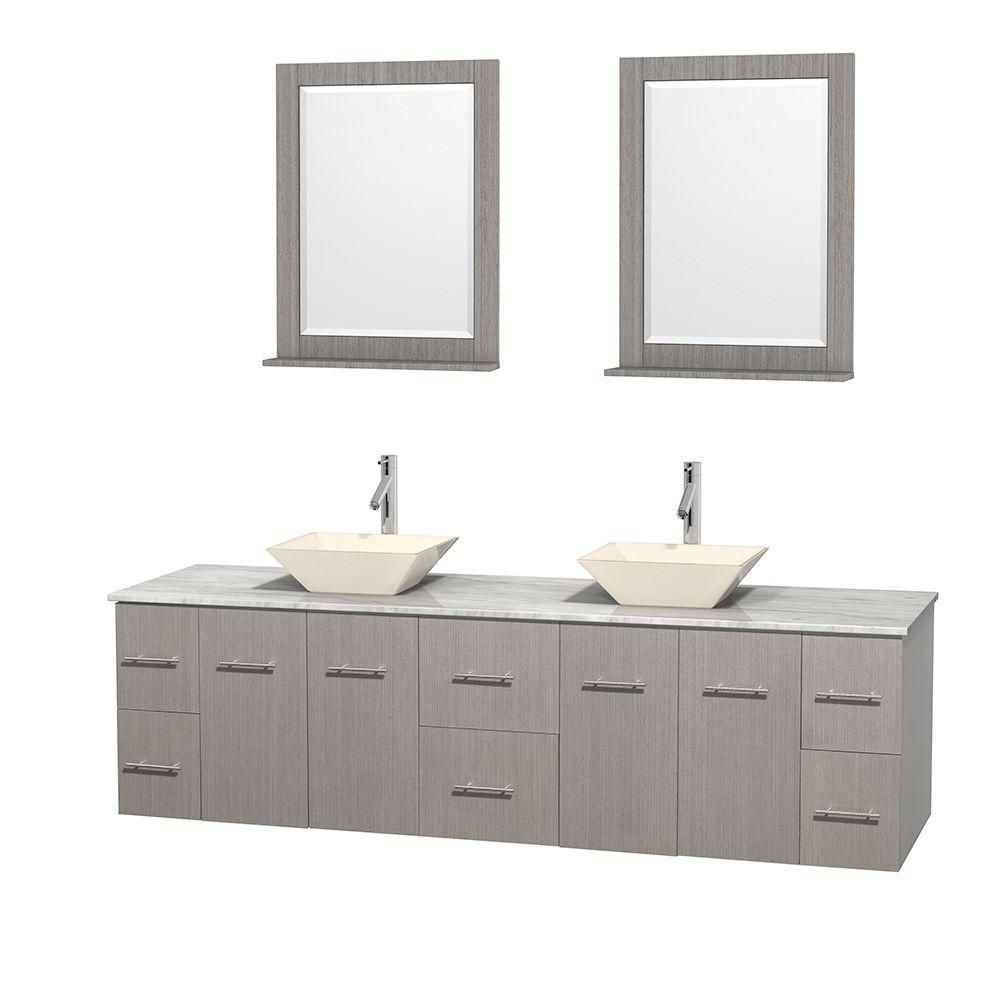 Centra 80-inch W Double Vanity in Grey Oak with White Top with Bone Basins and Mirrors