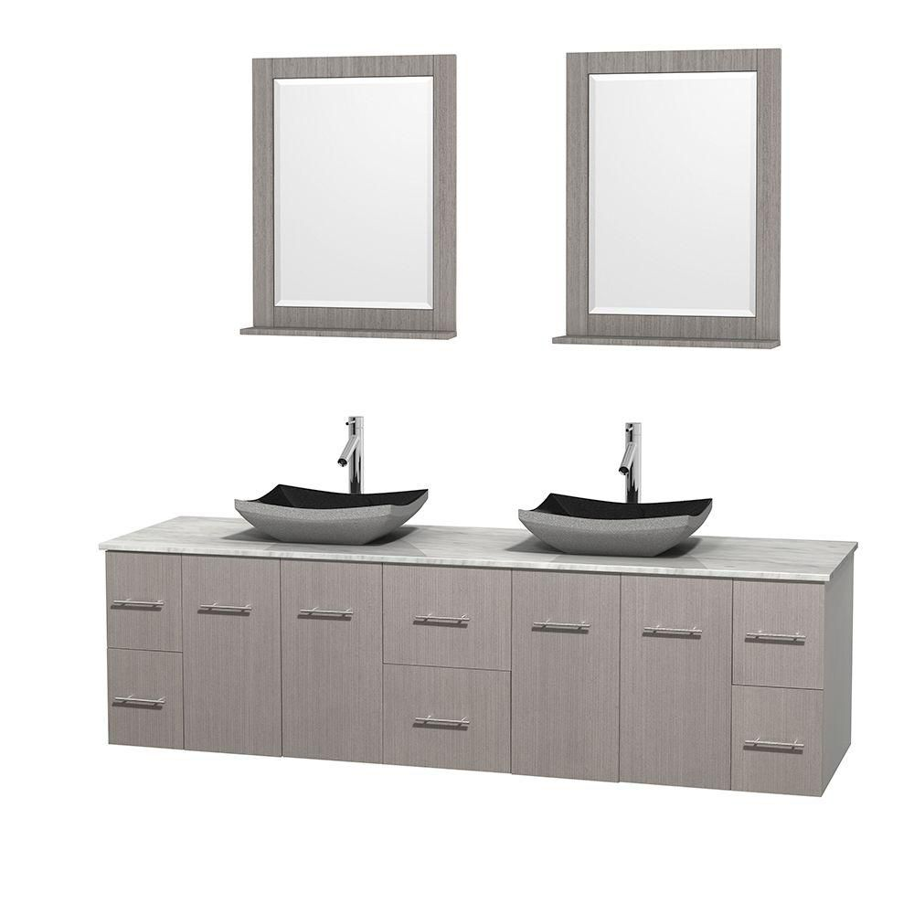 Centra 80-inch W Double Vanity in Grey Oak with White Top with Black Basins and Mirrors