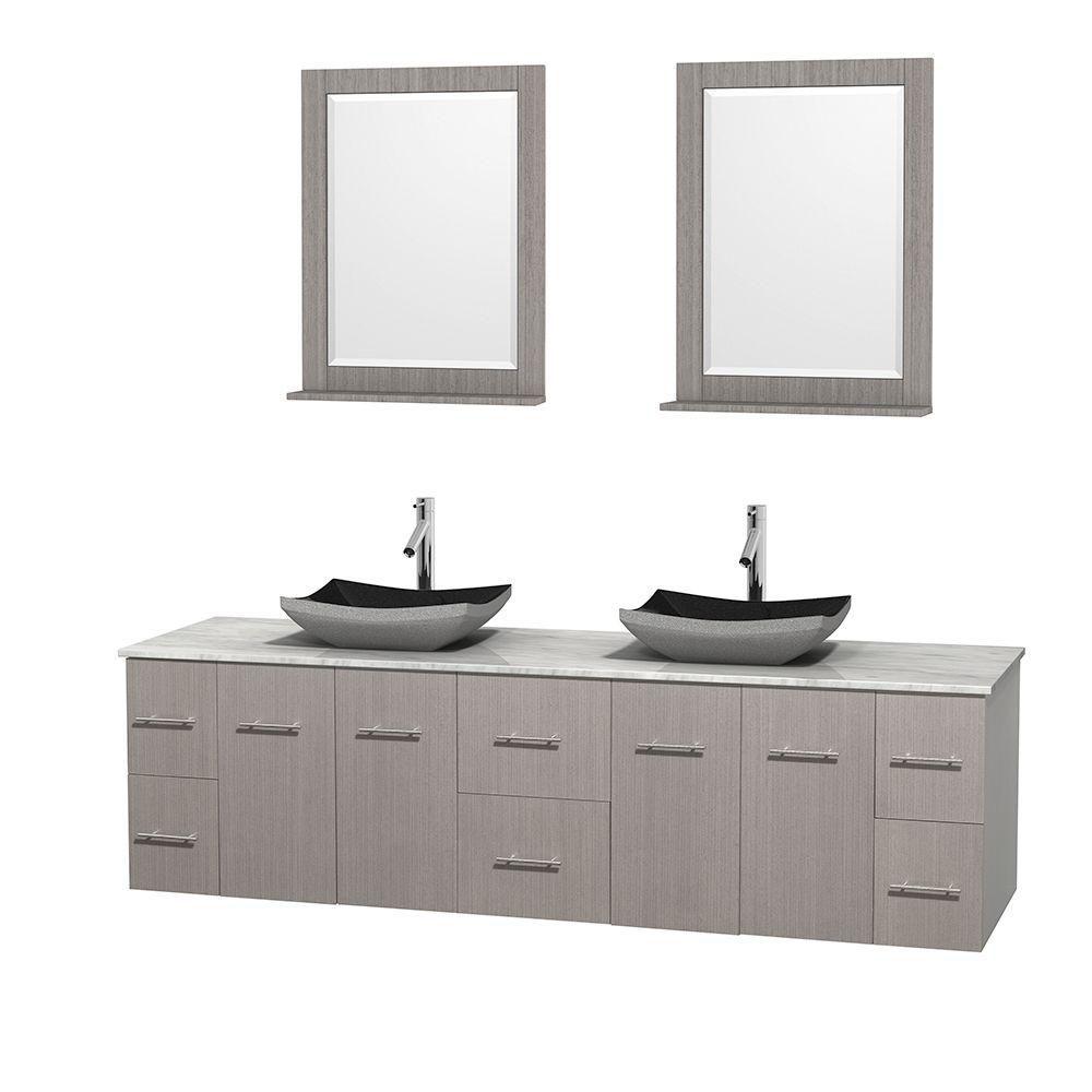 Meuble double Centra 80 po. chêne gris, comptoir blanc Carrare, lavabos granit noir, miroirs 24 p...