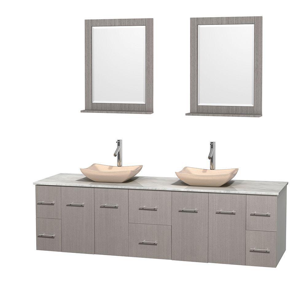 Meuble double Centra 80 po. chêne gris, comptoir blanc Carrare, lavabos ivoire, miroirs 24 po.