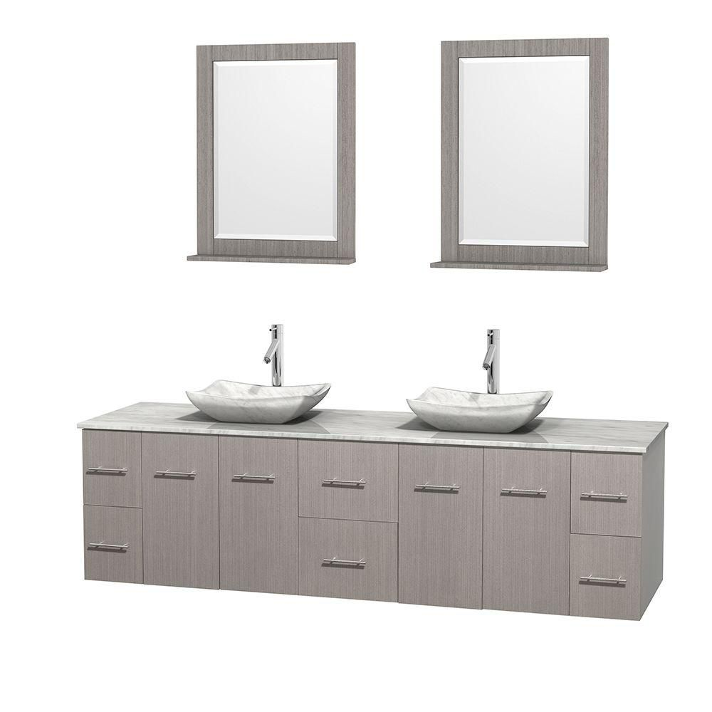 Centra 80-inch W Double Vanity in Grey Oak with White Top with White Basins and Mirrors