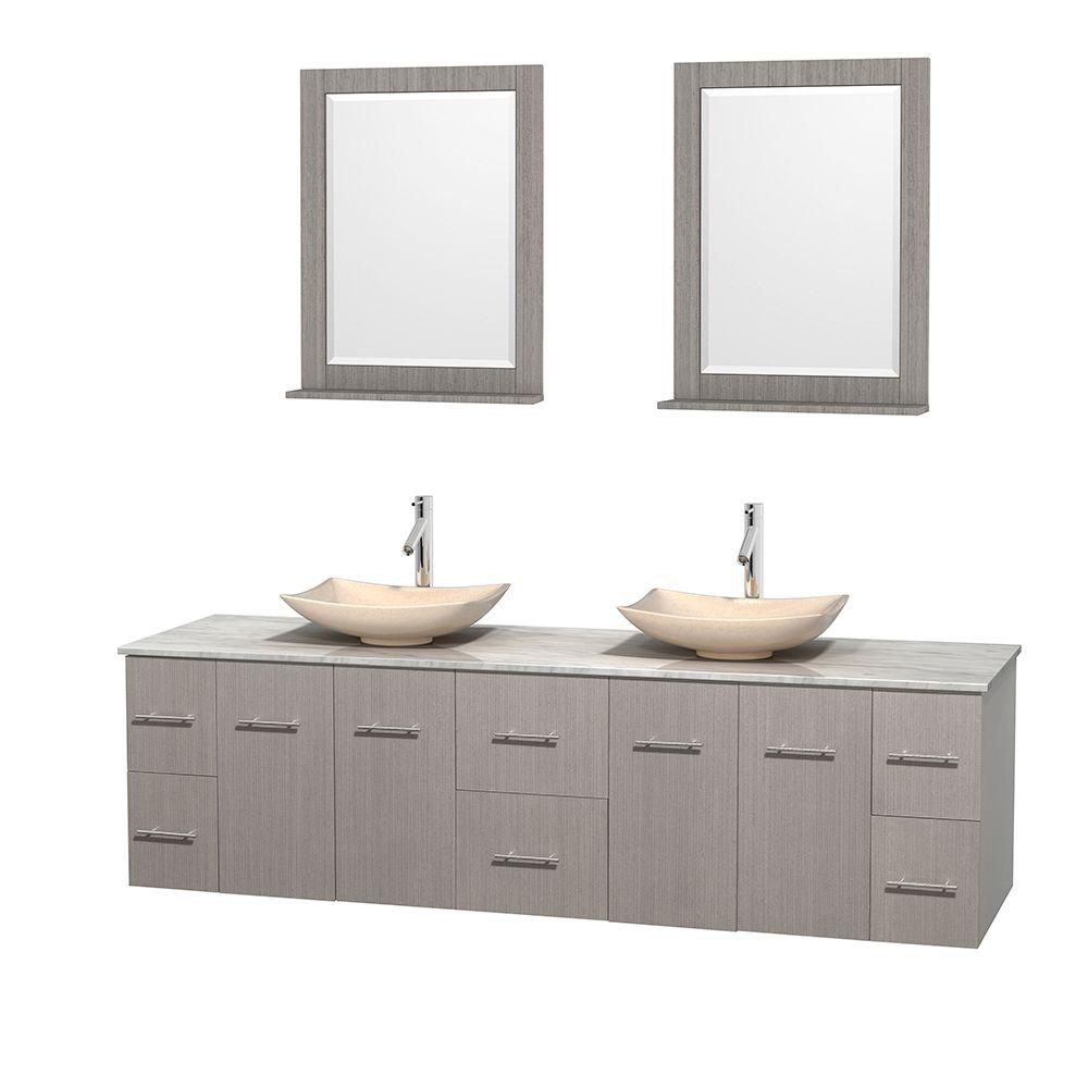 Centra 80-inch W Double Vanity in Grey Oak with White Top with Ivory Basins and Mirrors