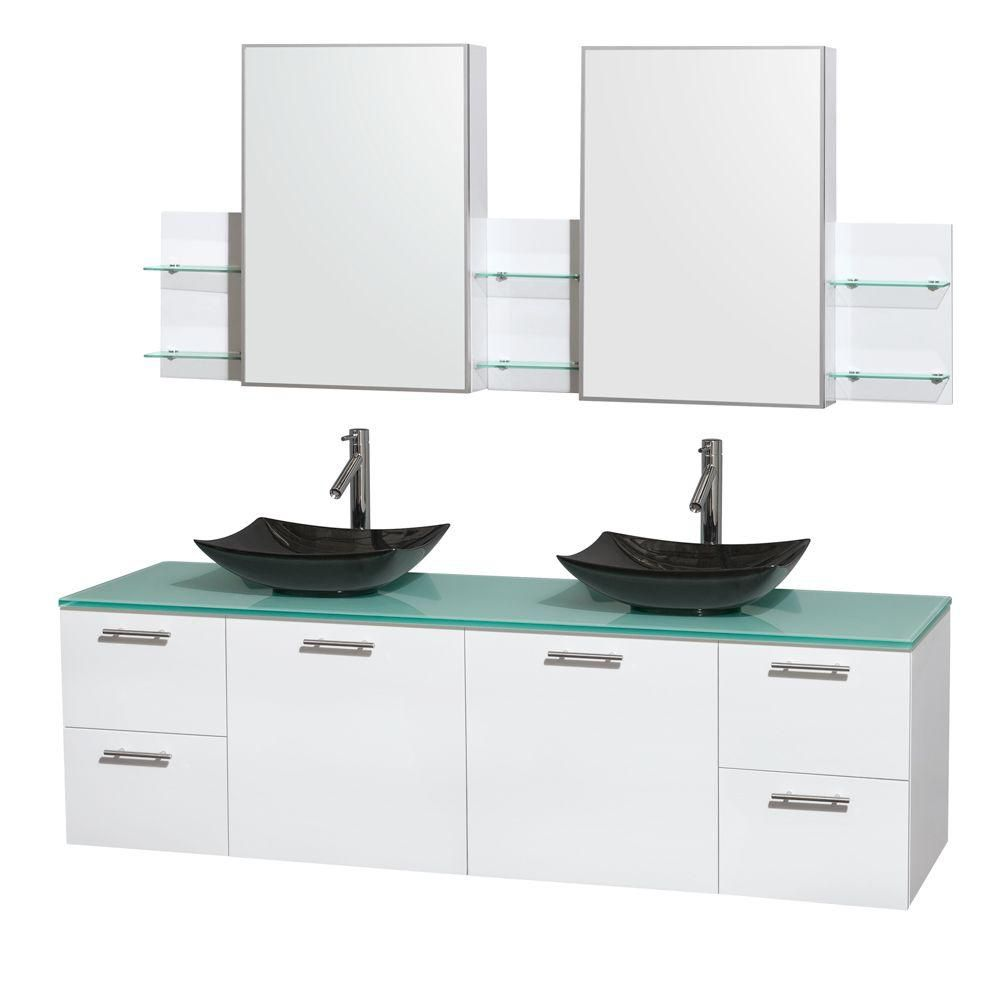 Amare 72-inch W Double Vanity in White with Glass Top with Black Basins and Medicine Cabinet
