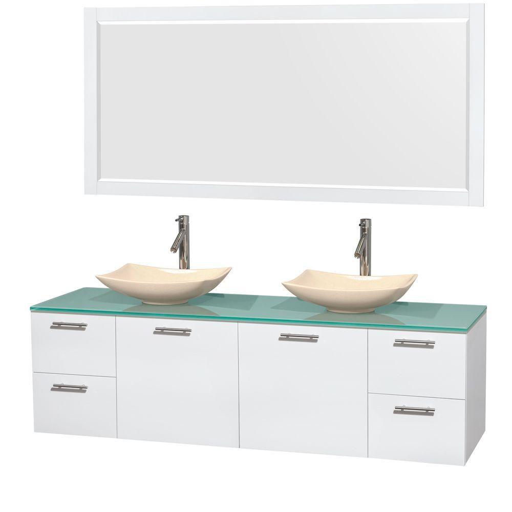 Amare 72 po Meuble dbl. laqué blanc et revêtement en verre effet eau et éviers en marbre ivoire
