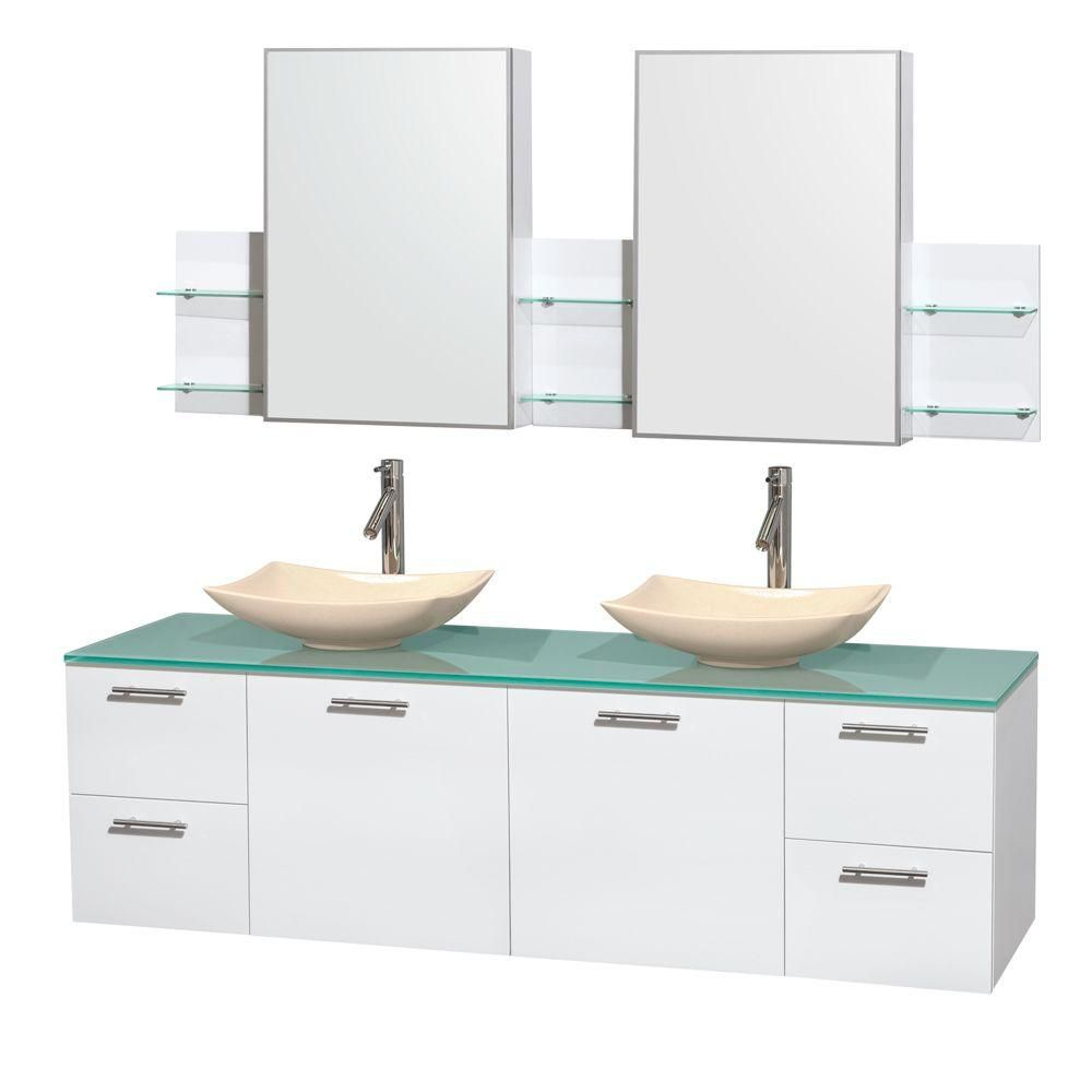 Amare 72-inch W Double Vanity in White with Glass Top with Ivory Basins and Medicine Cabinet