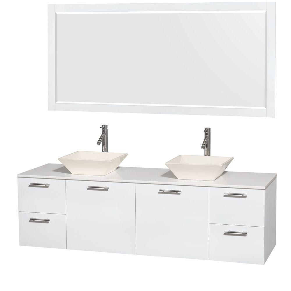 Amare 72-inch W Double Vanity in White with Solid Top with Bone Basins and Mirror