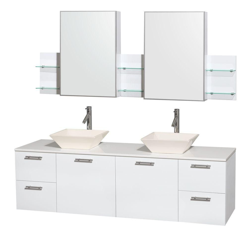 Amare 72-inch W Double Vanity in White with Solid Top with Bone Basins and Medicine Cabinet