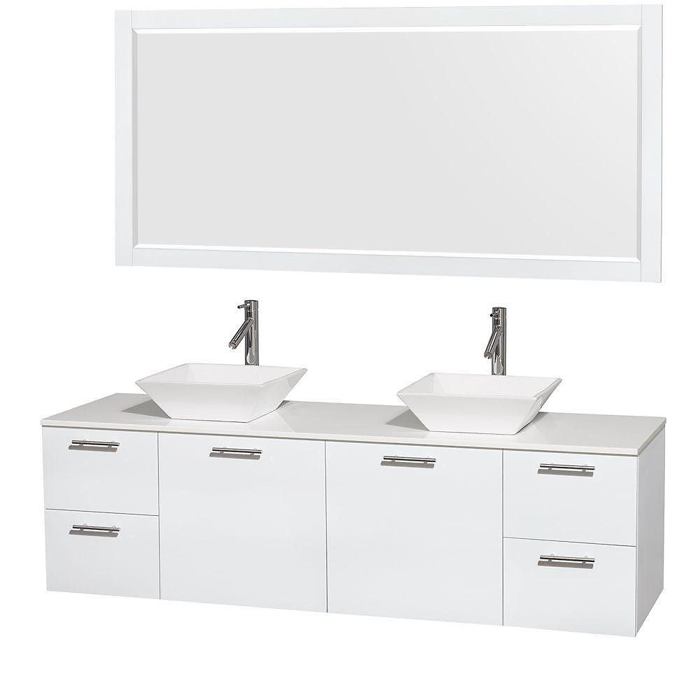 Amare 72-inch W 4-Drawer 2-Door Vanity in White With Artificial Stone Top in White, Double Basins