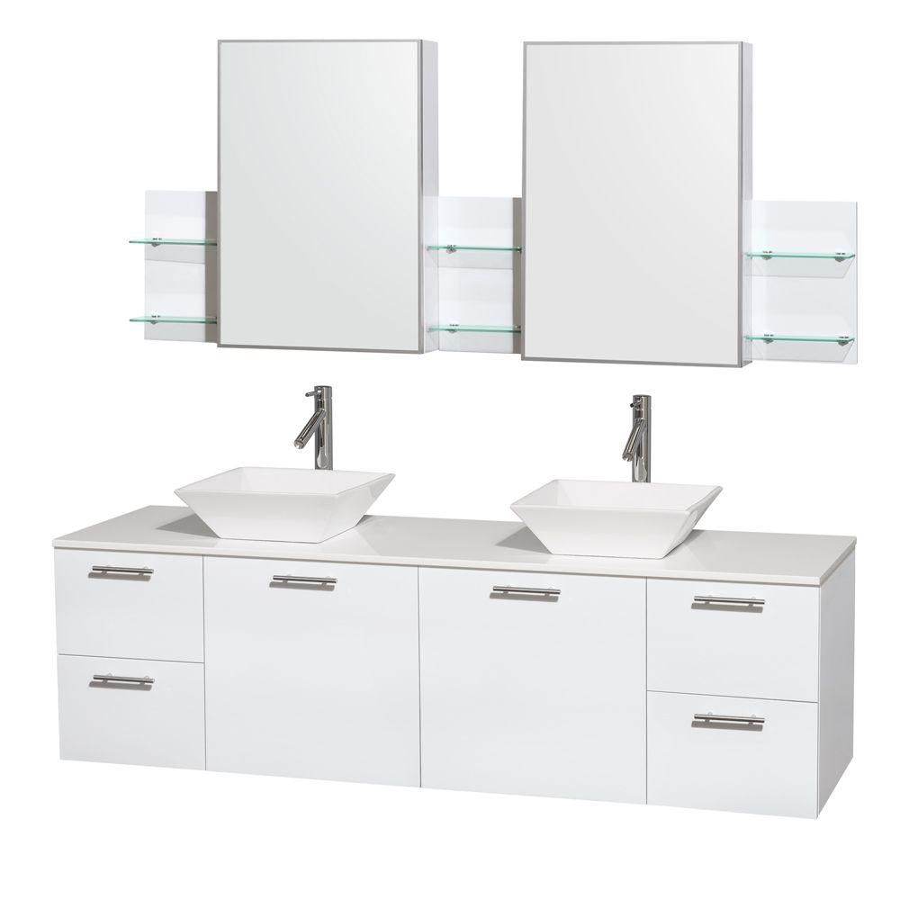 Wyndham Collection Amare 72-inch W 4-Drawer 2-Door Vanity in White With Artificial Stone Top in White, Double Basins