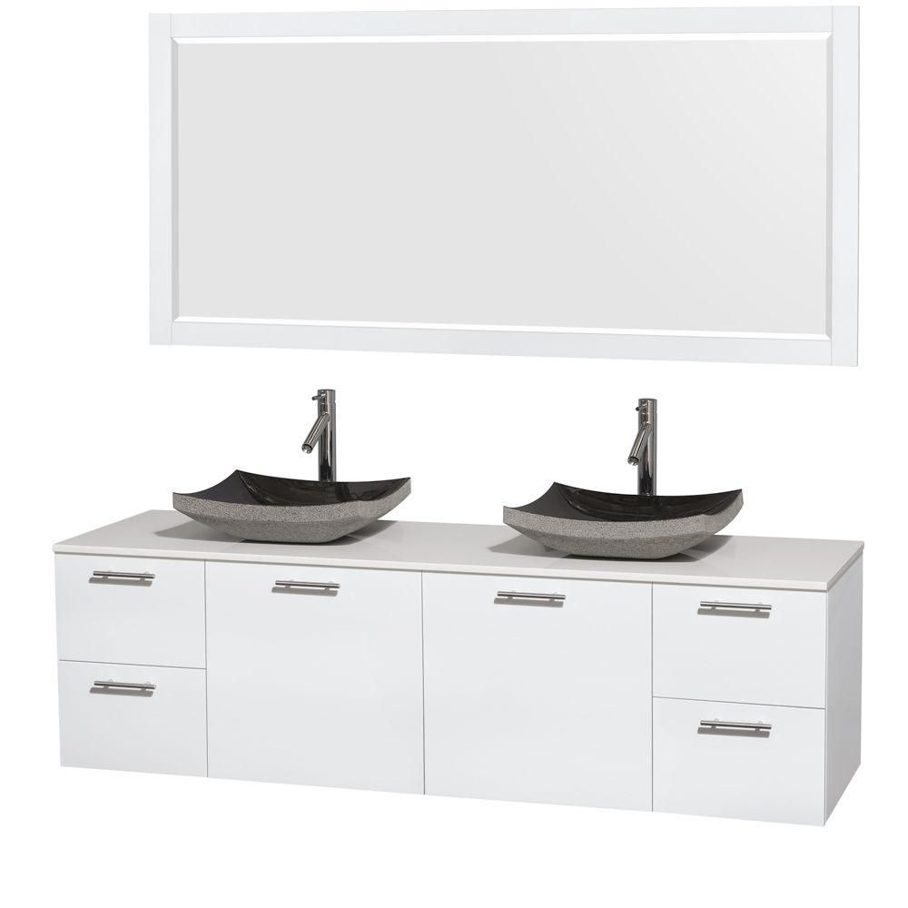 Amare 72-inch W Double Vanity in White with Solid Top with Black Basins and Mirror