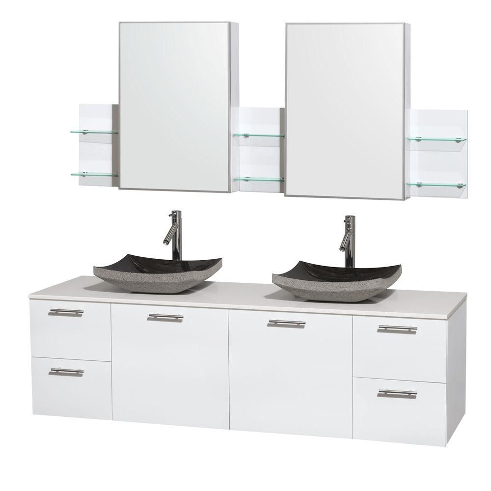 Amare 72-inch W Double Vanity in White with Solid Top with Black Basins and Medicine Cabinet