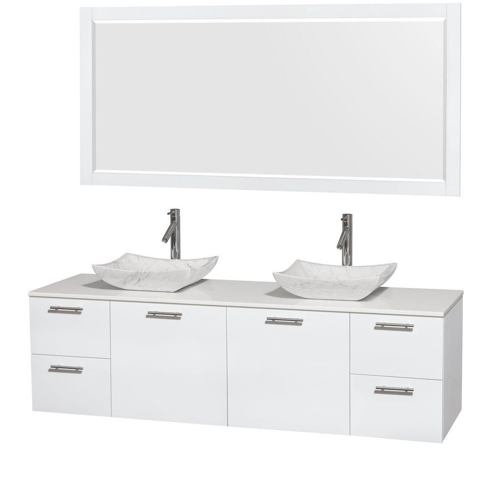 Amare 72-inch W Double Vanity in White with Solid Top with White Basins and Mirror