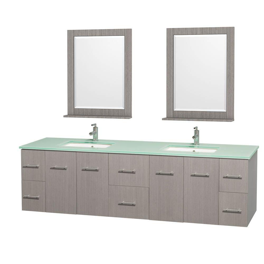 Centra 80-inch W Double Vanity in Grey Oak with Glass Top with Square Basins and Mirrors