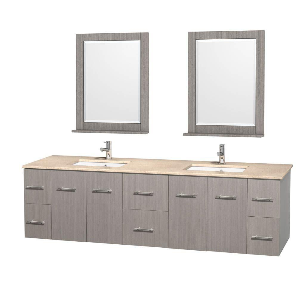 Centra 80-inch W Double Vanity in Grey Oak with Marble Top in Ivory with Square Basins and Mirror...