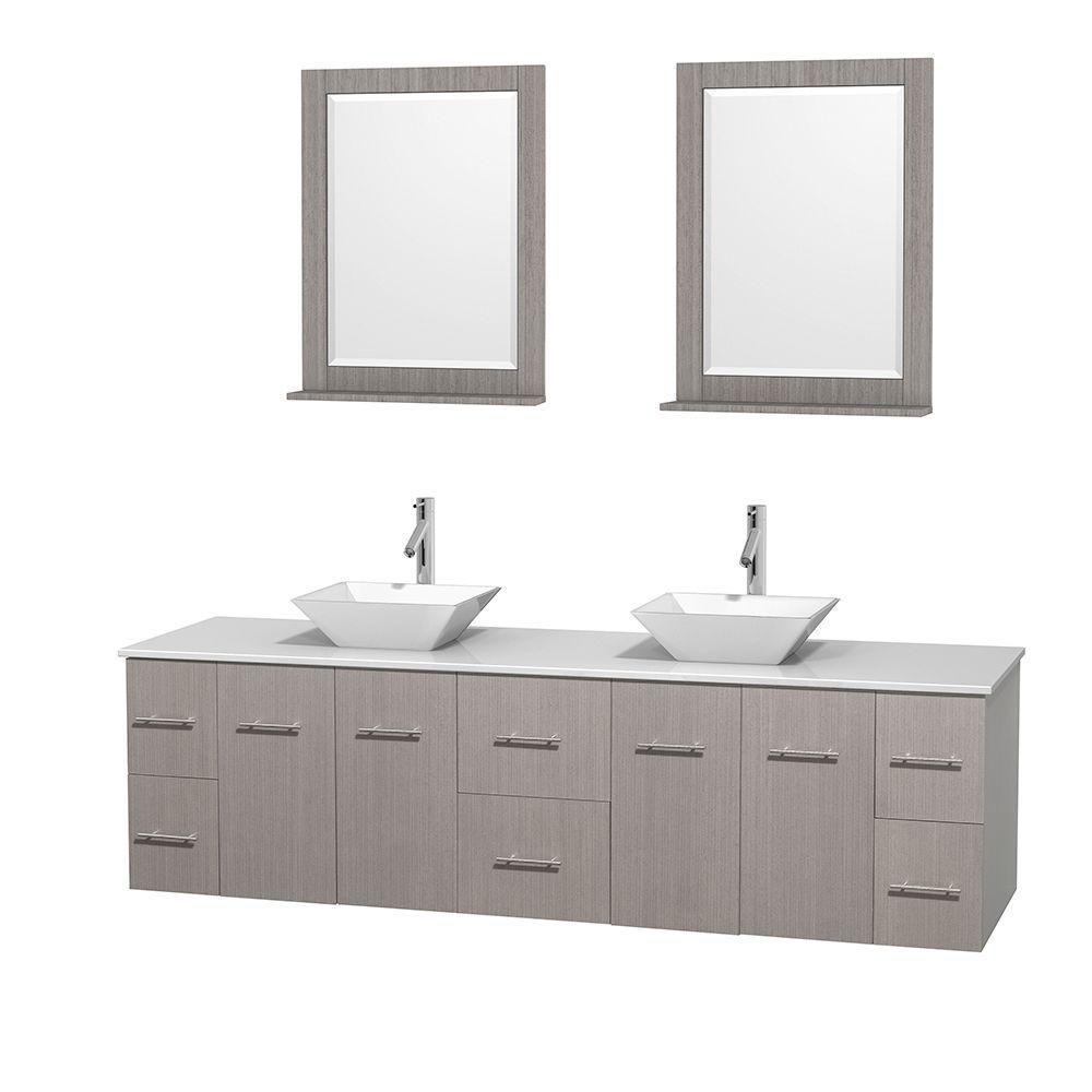 Centra 80-inch W Double Vanity in Grey Oak with Solid Top with White Basins and Mirrors