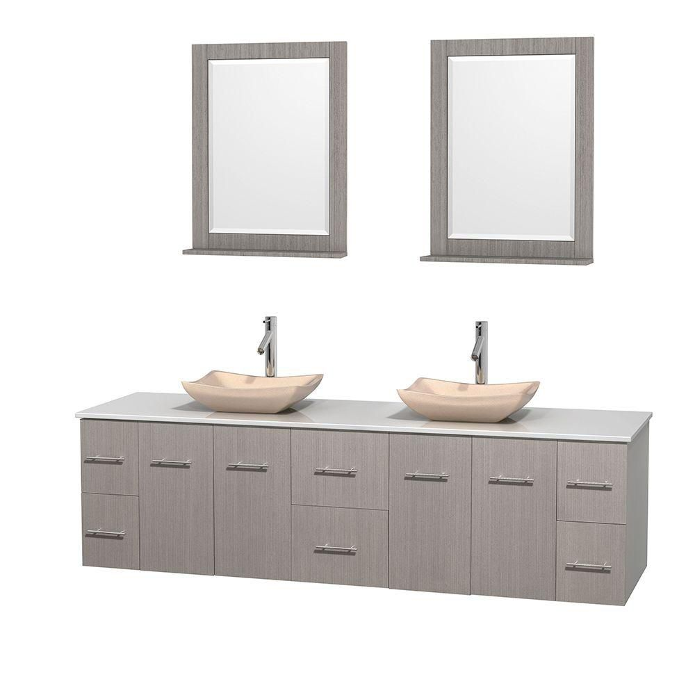 Centra 80-inch W Double Vanity in Grey Oak with Solid Top with Ivory Basins and Mirrors