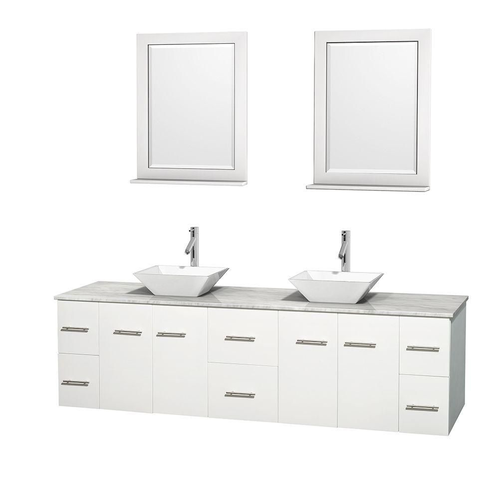 Centra 80-inch W Double Vanity in White with White Top with White Basins and Mirrors