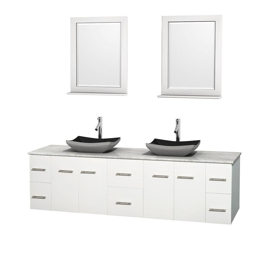 Centra 80-inch W Double Vanity in White with White Top with Black Basins and Mirrors