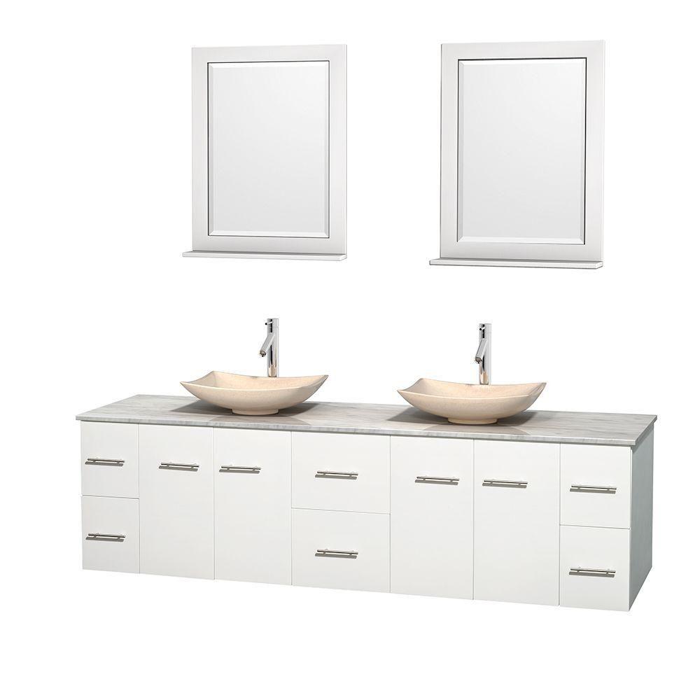 Meuble double Centra 80 po. blanc, comptoir blanc Carrare, lavabos ivoire, miroirs 24 po.