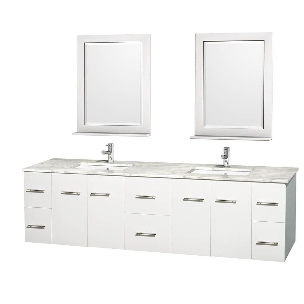 Centra 80-inch W Double Vanity in White with White Top with Square Basins and Mirrors