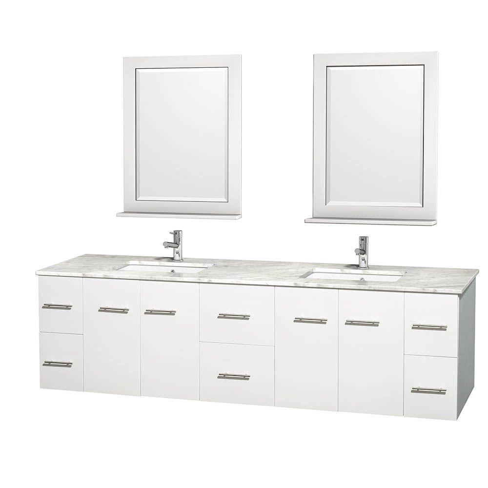 Meuble double Centra 80 po. blanc, comptoir blanc Carrare, lavabo carré, miroir 24 po.