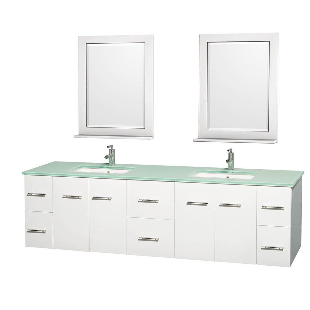 Centra 80-inch W Double Vanity in White with Glass Top with Square Basins and Mirrors
