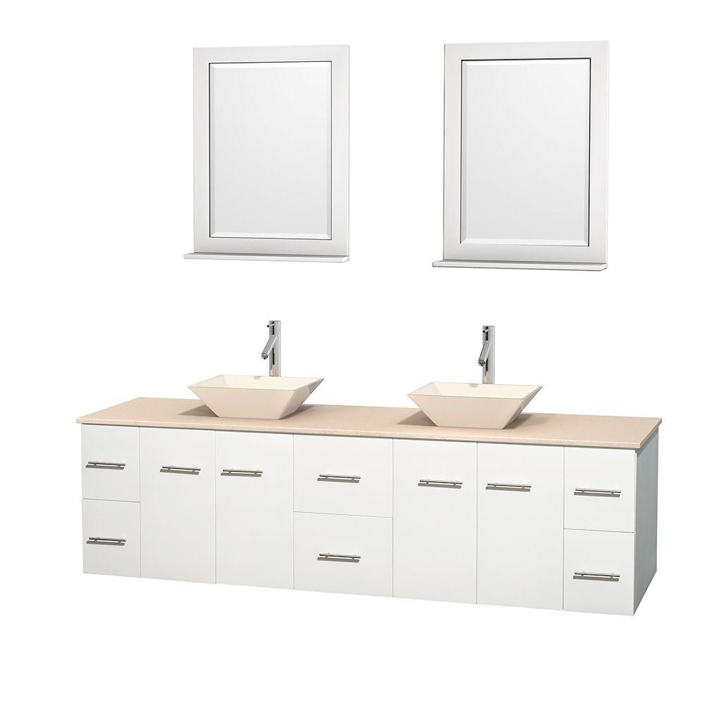 Wyndham Collection Centra 80-inch W 6-Drawer 4-Door Wall Mounted Vanity in White With Marble Top in Beige Tan, 2 Basins