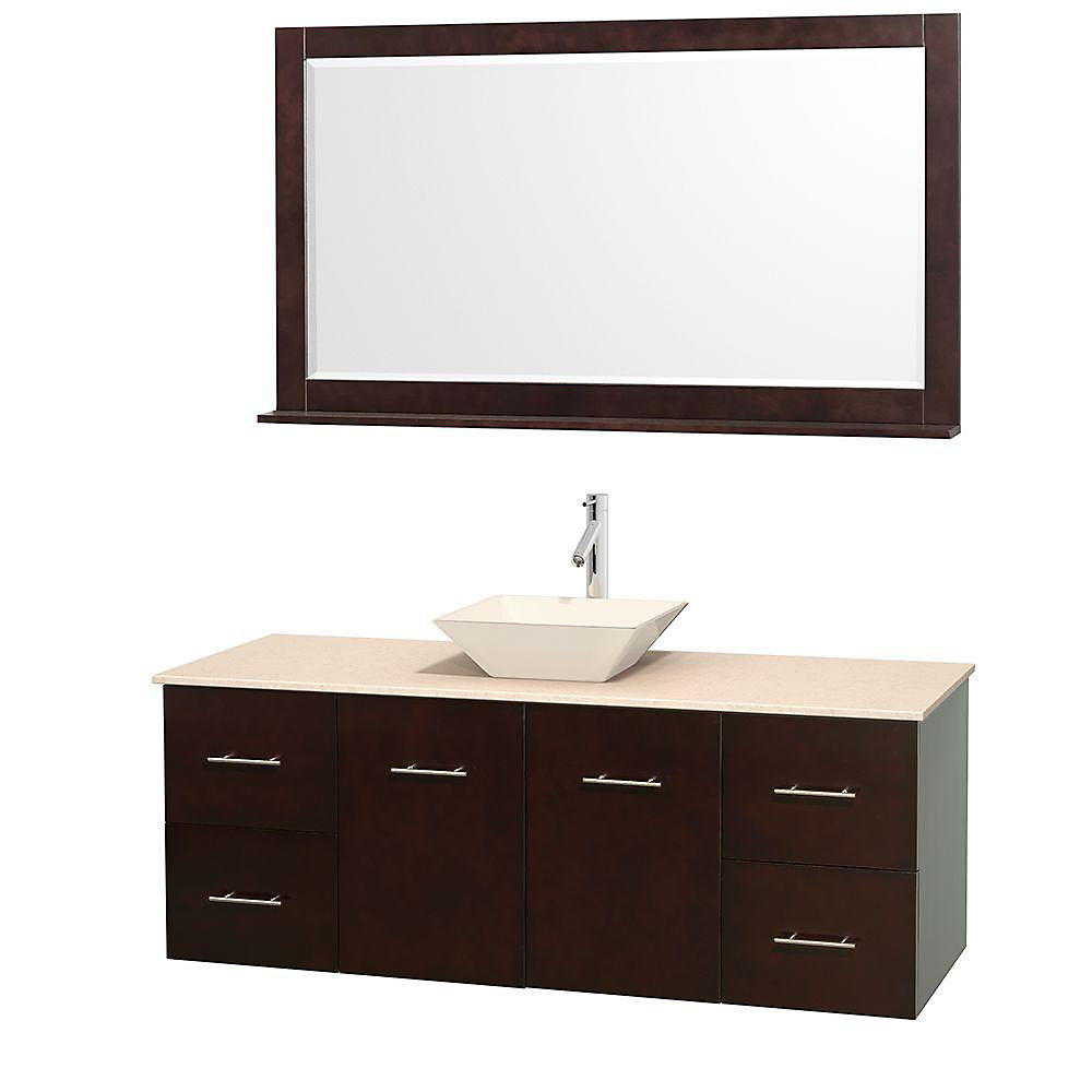 Centra 60-inch W 4-Drawer 2-Door Wall Mounted Vanity in Brown With Marble Top in Beige Tan