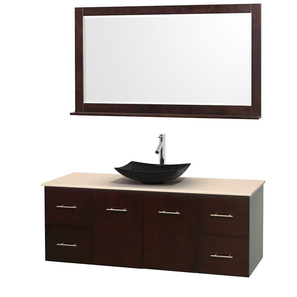 Wyndham Collection Centra 60-inch W 4-Drawer 2-Door Wall Mounted Vanity in Brown With Marble Top in Beige Tan