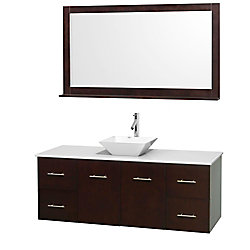Wyndham Collection Centra 60-inch W 4-Drawer 2-Door Wall Mounted Vanity in Brown With Artificial Stone Top in White