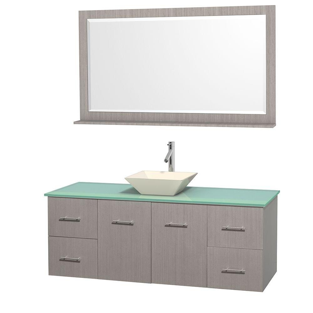 Wyndham Collection Centra 60-inch W 4-Drawer 2-Door Wall Mounted Vanity in Grey With Top in Green With Mirror