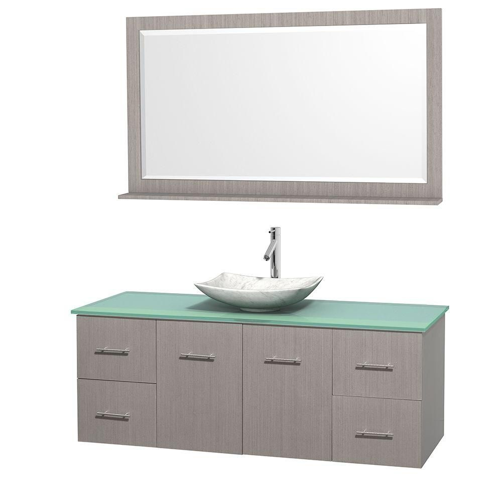 Centra 60-inch W 4-Drawer 2-Door Wall Mounted Vanity in Grey With Top in Green With Mirror