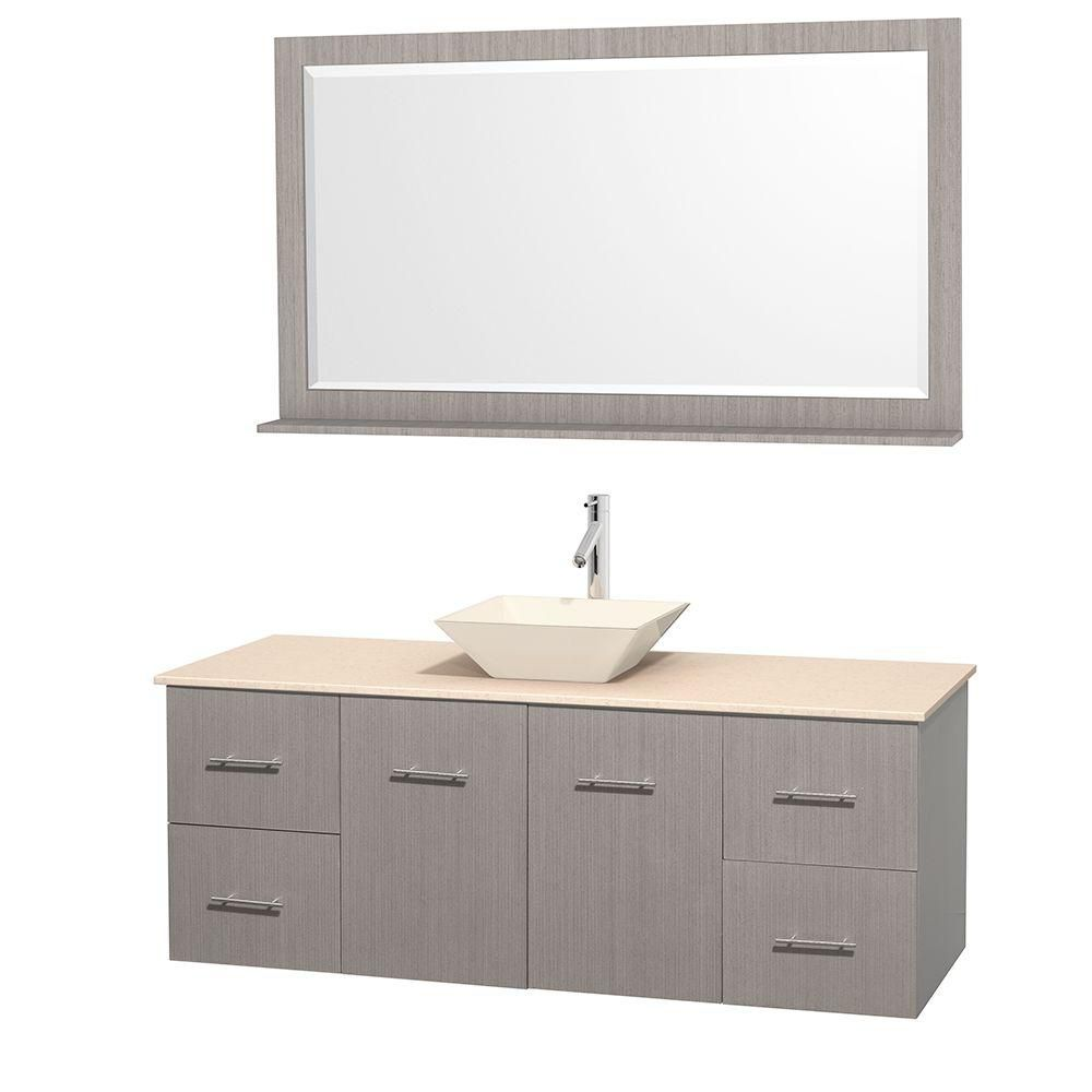 Centra 60-inch W Vanity in Grey Oak with Marble Top in Ivory with Bone Basin and Mirror