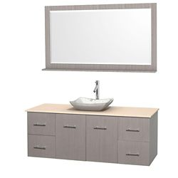 Wyndham Collection Meuble simple Centra 60 po. chêne gris, comptoir marbre ivoire, lavabo blanc Carrare, miroir 58 po.