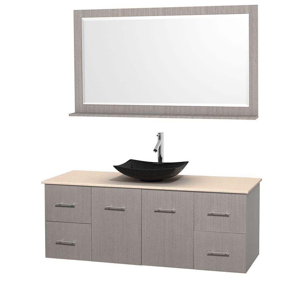 Centra 60-inch W Vanity in Grey Oak with Marble Top in Ivory with Black Basin and Mirror