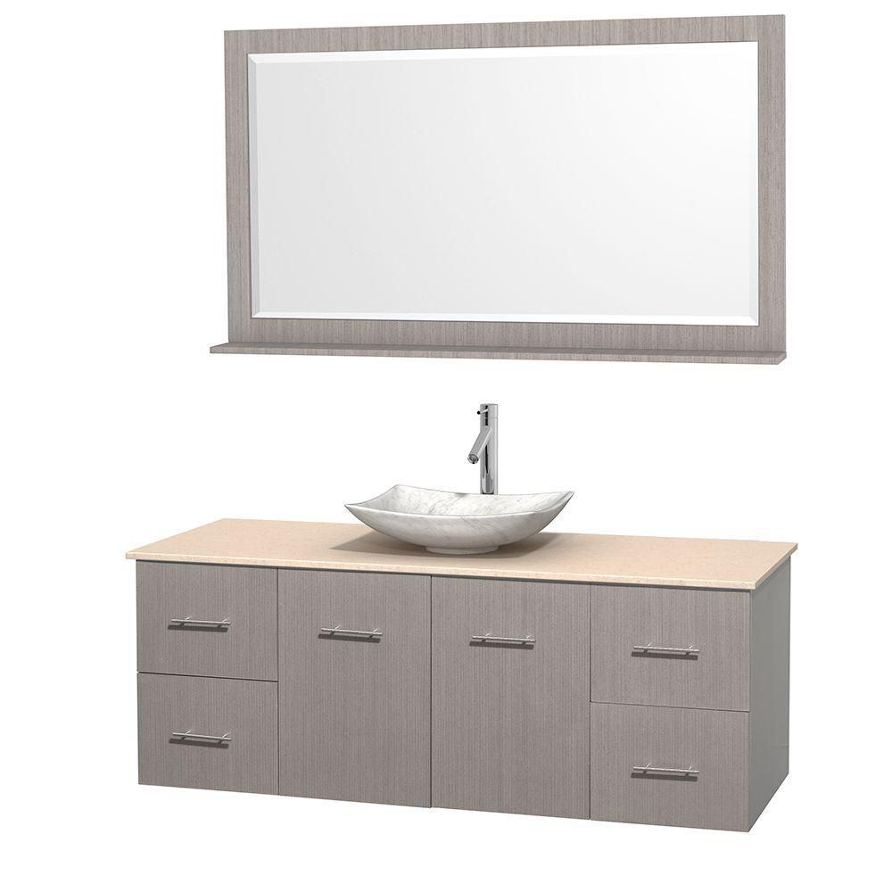 Centra 60-inch W Vanity in Grey Oak with Marble Top in Ivory with White Basin and Mirror
