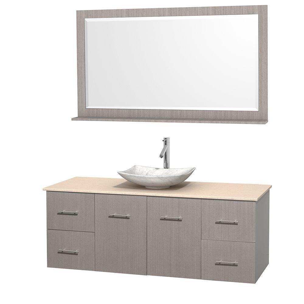 Meuble simple Centra 60 po. chêne gris, comptoir marbre ivoire, lavabo blanc Carrare, miroir 58 p...