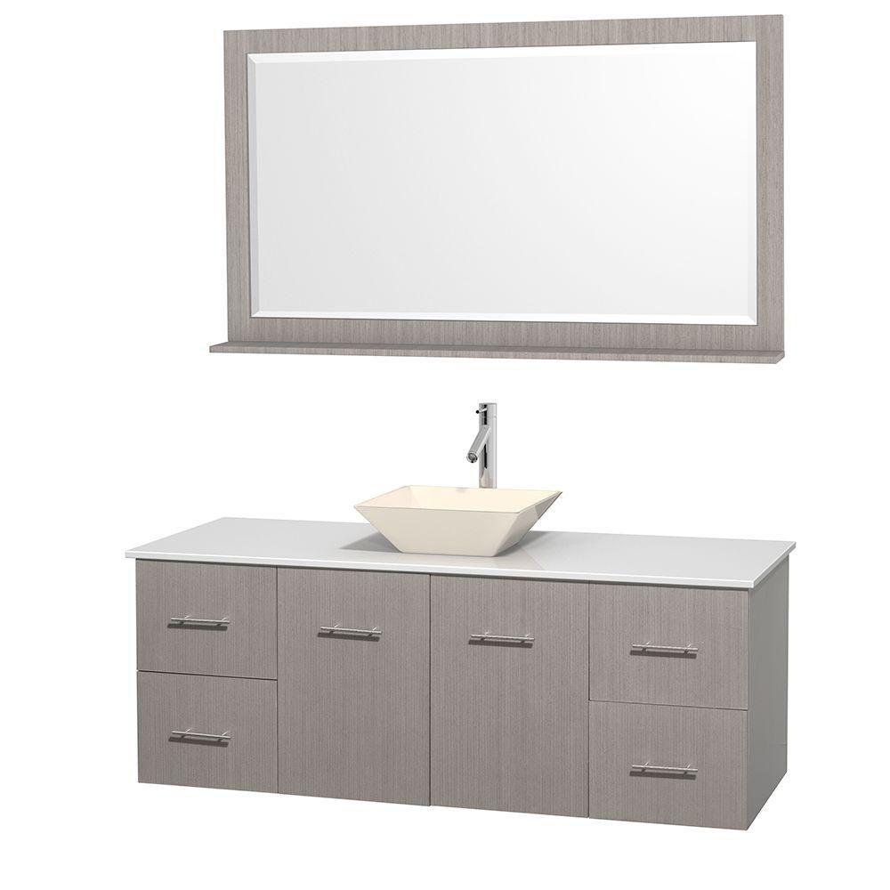 Meuble unique Centra 60 po. chêne gris, comptoir solide, lavabo porcelaine bone, miroir58 po.