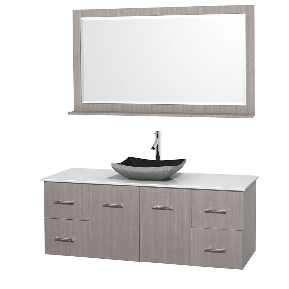 Centra 60-inch W Vanity in Grey Oak with Solid Top with Black Basin and Mirror