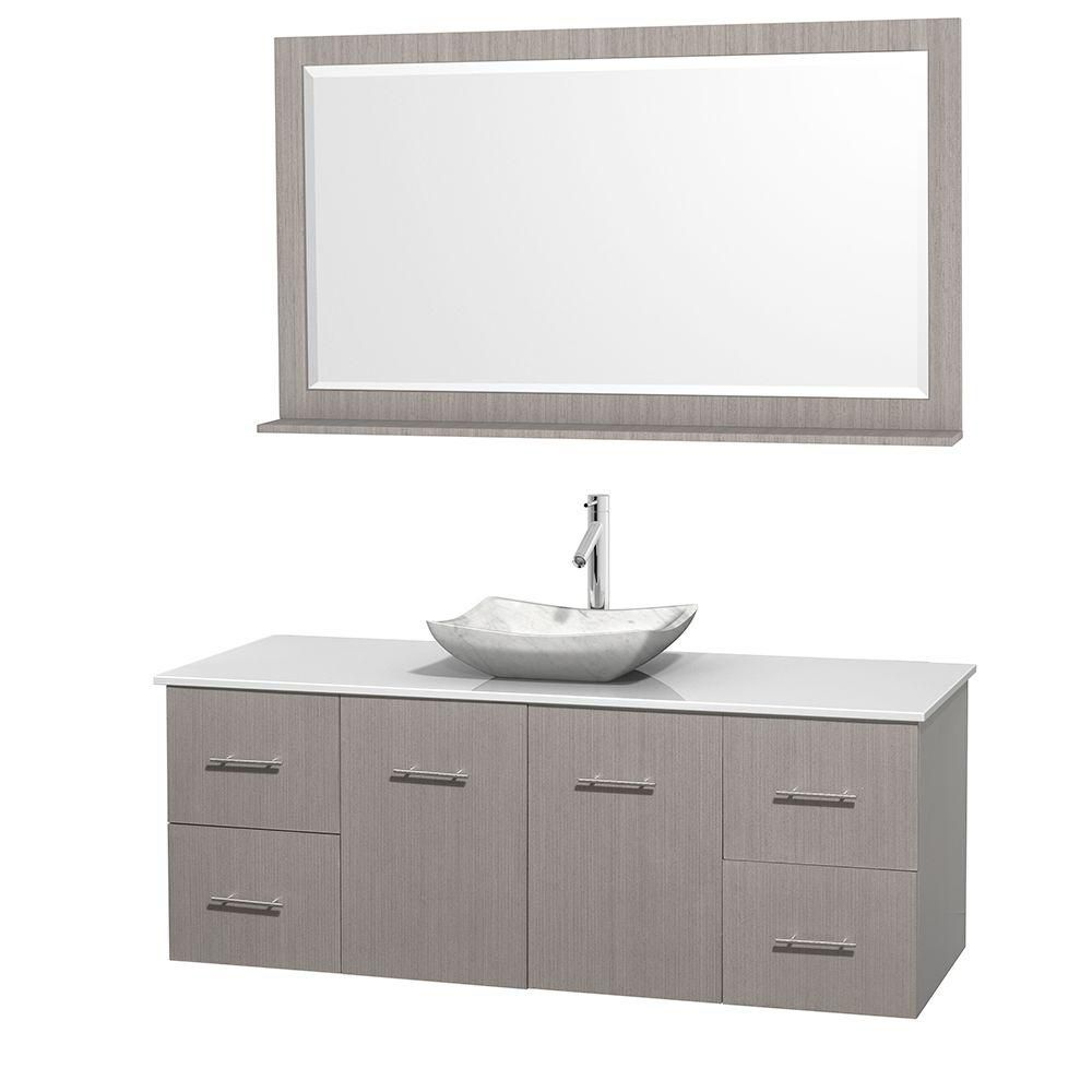 Centra 60-inch W Vanity in Grey Oak with Solid Top with White Basin and Mirror