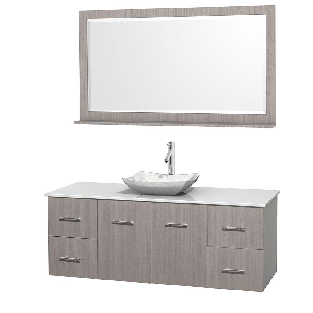 Meuble simple Centra 60 po. chêne gris, comptoir solide, lavabo blanc Carrare, miroir 58 po.