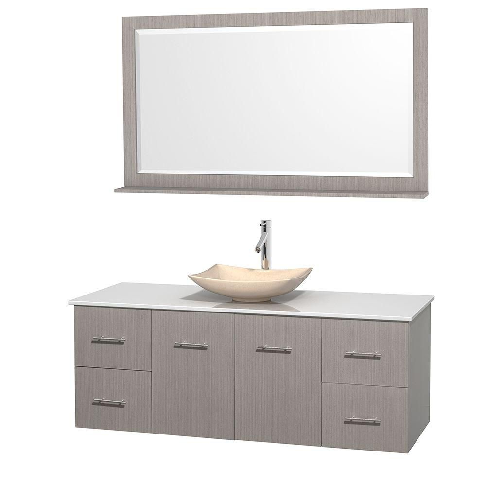 Centra 60-inch W Vanity in Grey Oak with Solid Top with Ivory Basin and Mirror