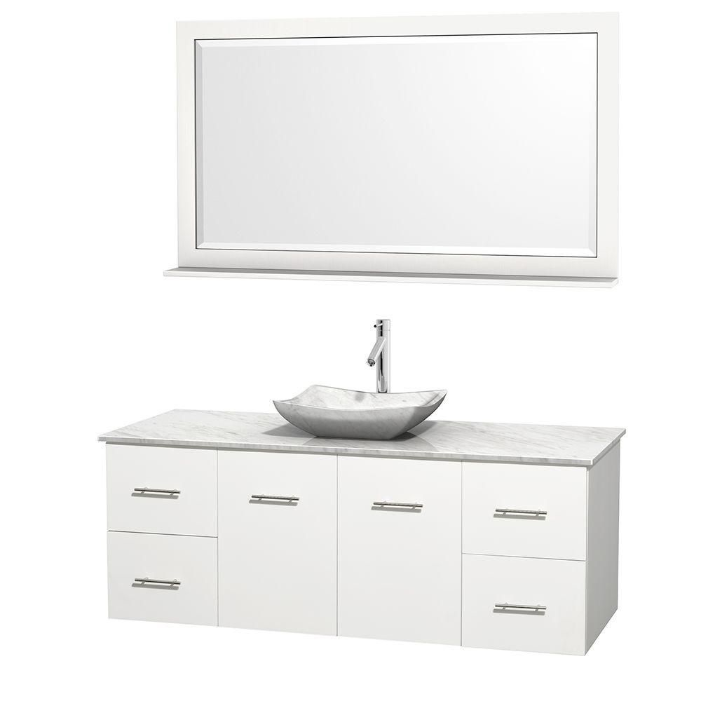 Centra 60-inch W 4-Drawer 2-Door Wall Mounted Vanity in White With Marble Top in White With Mirror