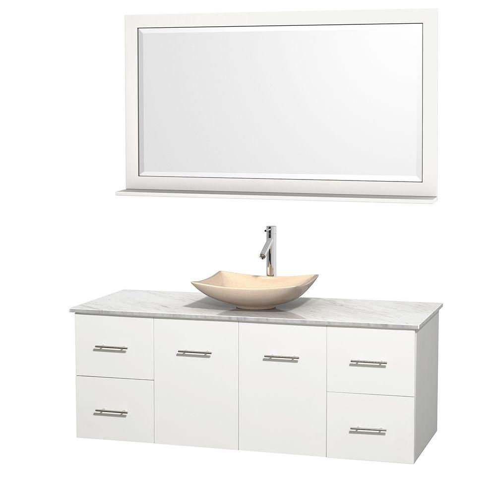 Wyndham Collection Centra 60-inch W 4-Drawer 2-Door Wall Mounted Vanity in White With Marble Top in White With Mirror