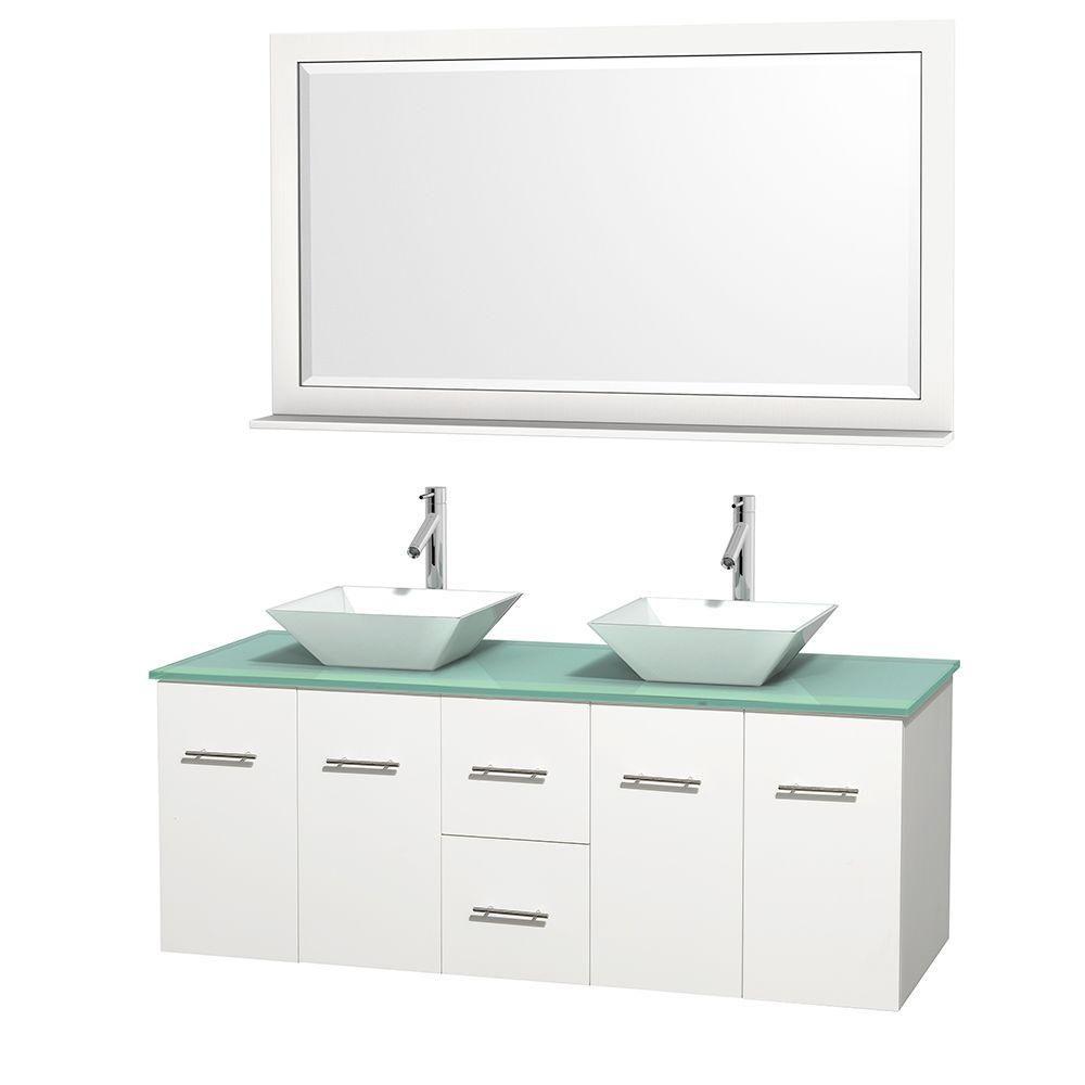 Meuble double Centra 60 po. blanc, comptoir verre vert, lavabos porcelaine blanche, miroir 58 po.